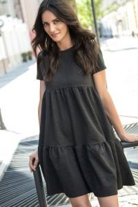 Sukienka grafitowa rozkloszowana NU92