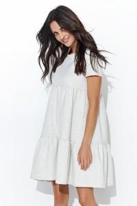 Sukienka beżowa rozkloszowana NU92