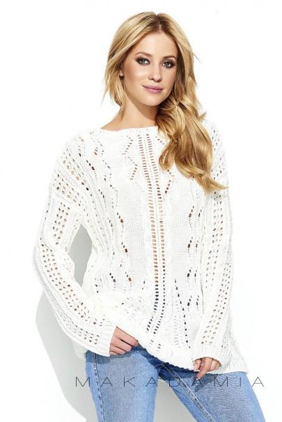 Ażurowy sweter ecru S60