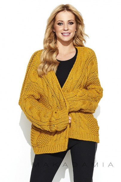 Sweter kardigan musztardowy...