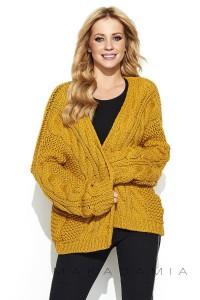 Sweter kardigan musztardowy S73