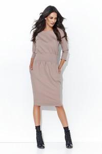 Dresowa sukienka bombka z kieszeniami cappuccino NU107