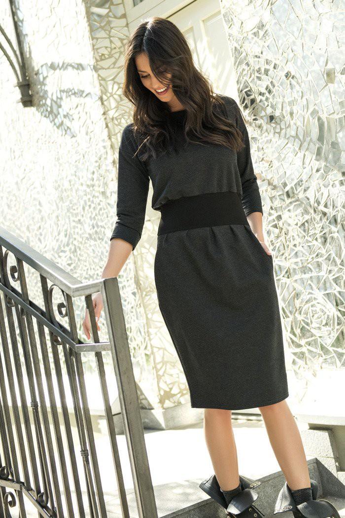 Dresowa sukienka bombka z kieszeniami grafitowa NU107