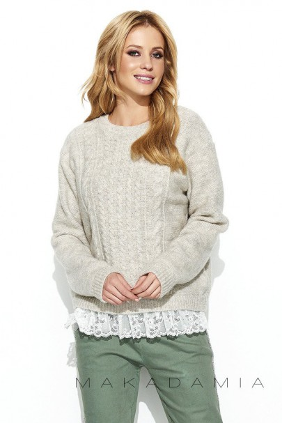 Sweter beżowy z koronką S66