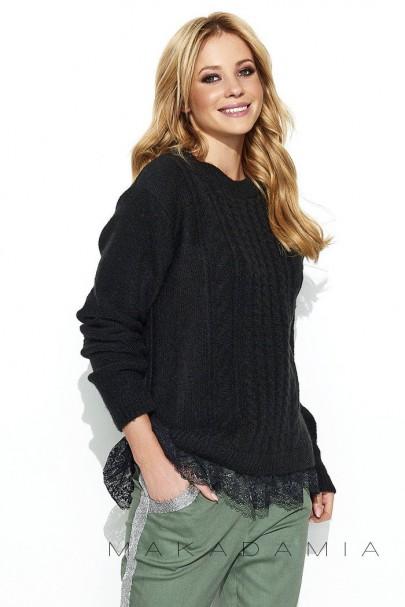 Sweter czarny z koronką S66