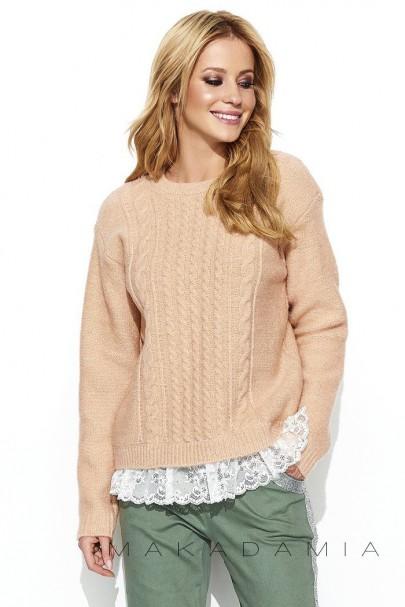 Sweter łososiowy z koronką S66