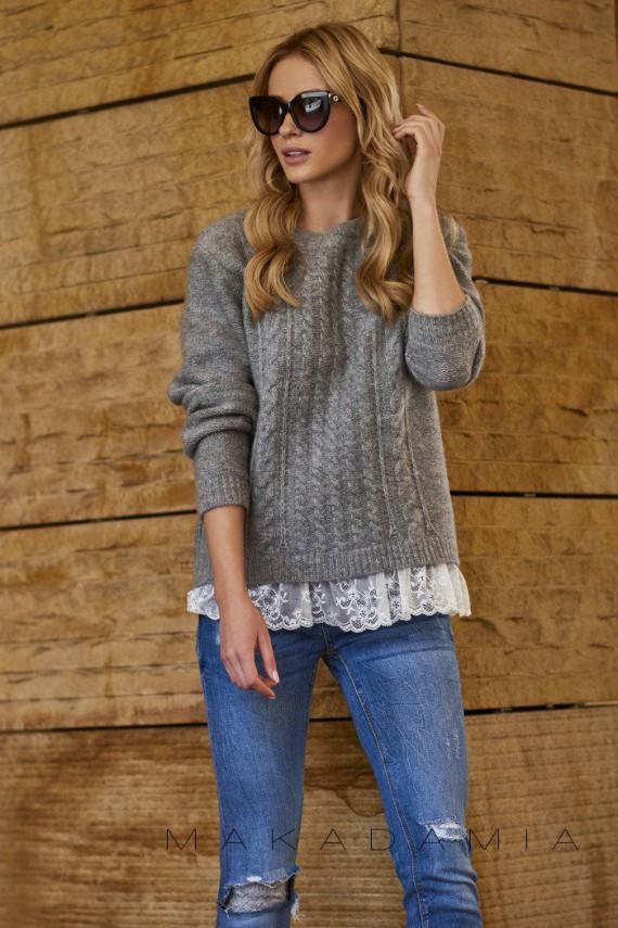 Sweter szary z koronką S66