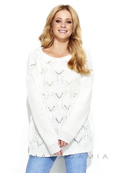 Ażurowy sweter ecru S61