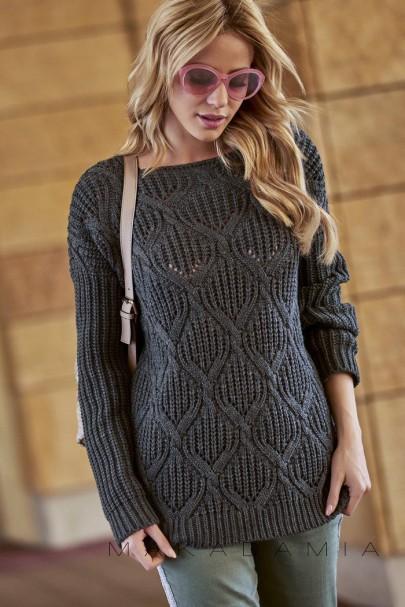Ażurowy sweter grafitowy S61