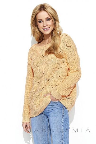 Ażurowy sweter morelowy S61
