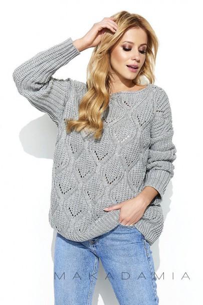 Ażurowy sweter szary S61