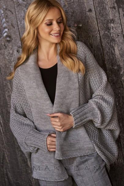 Sweter kardigan szary S72