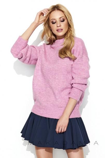 Sweter półgolf różowy S63