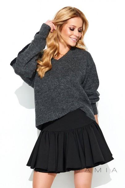 Sweter grafitowy z koronką S62