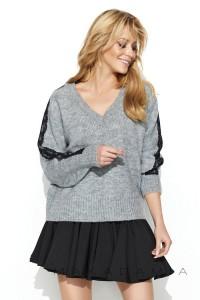 Sweter szary z koronką S62