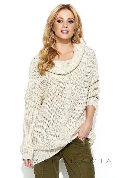 Sweter beżowy z warkoczem S69