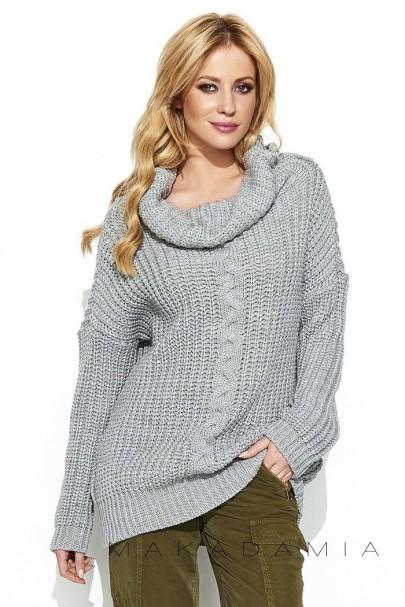 Sweter szary z warkoczem S69