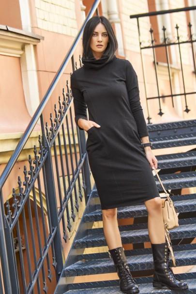 Sukienka czarna z golfem NU117