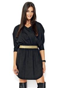 Sukienka czarna z ozdobną taśmą w talii NU118