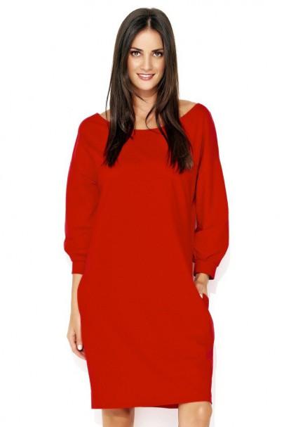 Sukienka czerwona o luźnym...