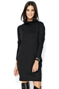 Sukienka czarna z luźnym golfem NU126