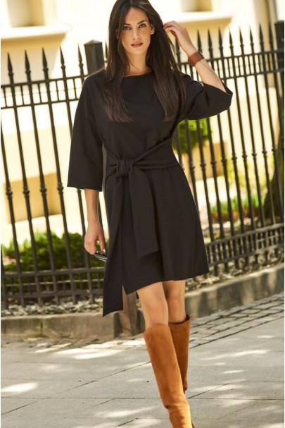 Sukienka czarna z szerokimi...
