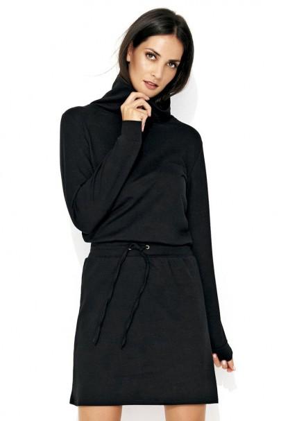 Sukienka czarna z golfem NU125