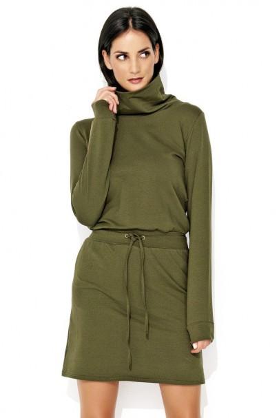 Sukienka khaki z golfem NU125