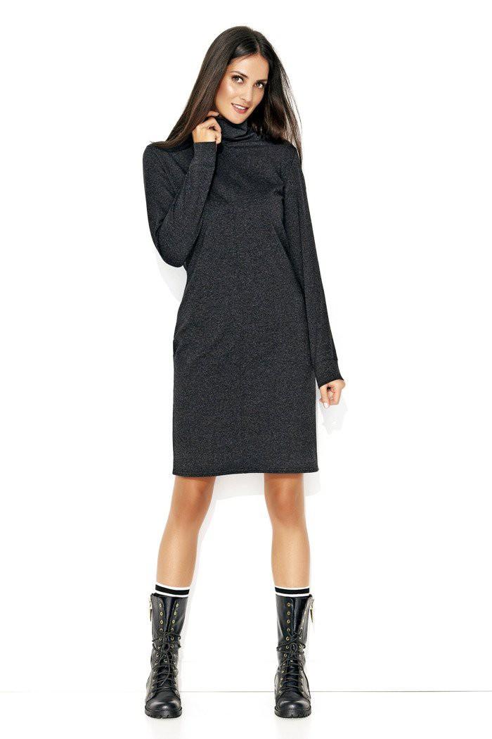 Prosta sukienka z golfem grafitowa NU127