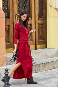 Sukienka bordowa maxi z paskiem NU134