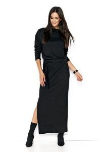 Sukienka czarna maxi z paskiem NU134