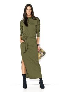 Sukienka khaki maxi z paskiem NU134