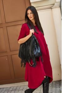 Sukienka bordowa asymetryczna NU137