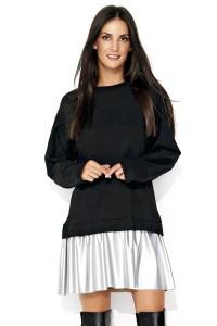 Sukienka czarna ze srebrną eko-skórą NU122