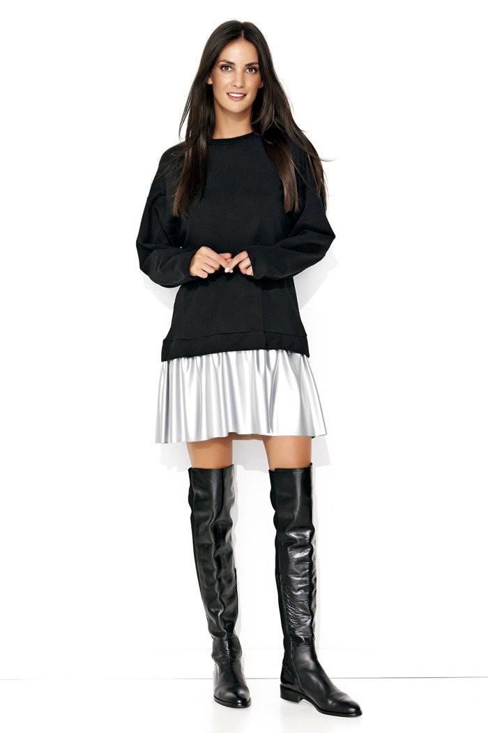 Czarna sukienka ze srebrną eko-skórą NU122