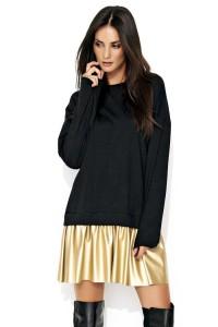 Sukienka czarna ze złotą eko-skórą NU122