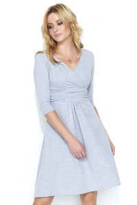 Sukienka szara z kopertowym dekoltem M456