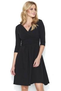 Sukienka czarna z kopertowym dekoltem M456