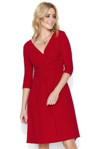 Sukienka czerwona z kopertowym dekoltem M456