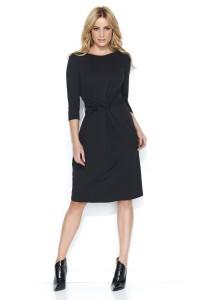 Sukienka czarna z przełożeniem w talii M462