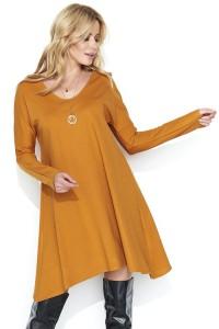 Sukienka musztardowa asymetryczna M453