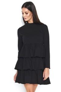 Sukienka czarna z falbanami NU142