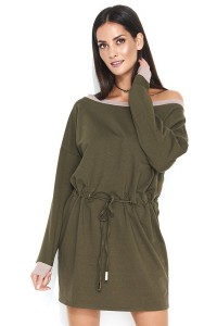 Sukienka khaki z wiązaniem NU143