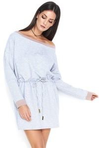 Sukienka szara z wiązaniem NU143