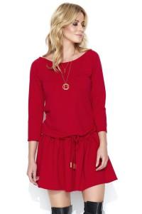 Sukienka czerwona z falbaną M458