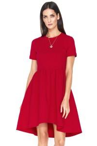Sukienka czerwona marszczona NU152