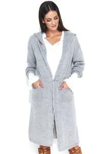 Sweter szary z kapturem NU_S42