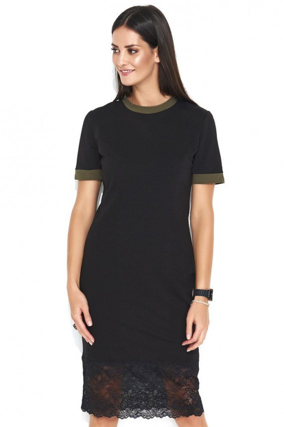 Sukienka czarno-khaki z...