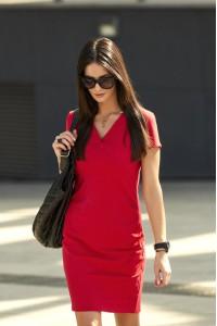 Sukienka czerwona dopasowana NU156