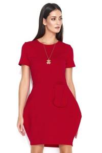 Sukienka czerwona z kieszenią NU149